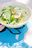 Cold cucumber soup with marinated chicken