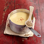 Spicy cream of orange lentil soup
