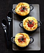 Cherry tomato and goat's cheese savoury puddings