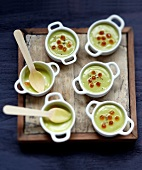 Cream of avocado soup with salmon roe