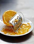 Grating orange zests
