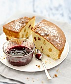 Raisin cake cooked in a casserole,summer fruit jam