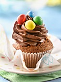 Chocolate and M&M's cupcakes