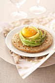 Buckwheat blini topped with a leek nest