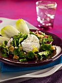 Corn lettuce salad with a soft-boiled egg
