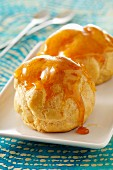 Cream puffs coated in caramel