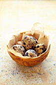 Quail's eggs in a small basket
