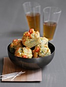 Mini crayfish-leek cakes
