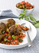 Minty beef meatballs with a diced tomato salad