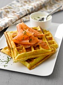 Potato waffles with smoked salmon and chive cream