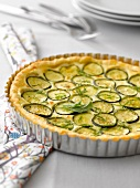 Zucchini, feta, ricotta and mint quiche