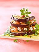 Eggplant,goat's cheese and diced tomato mille-feuille