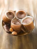 Chocolate and chestnut baked egg custards