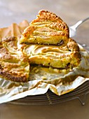 Pear and chocolate marzipan pie