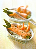 Green asparagus rolled in smoked salmon,shrimp sauce