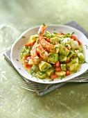 Avocado,pineapple,pepper and shrimp salad