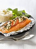 Salmon and mozzarella cooked in aluminium foil