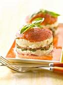 Mozzarella, tomato and basil Mille-feuille