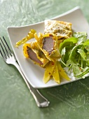 Confit gizzards in filo pastry with mango chutney