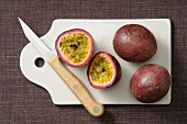 Passion fruits on a chopping board
