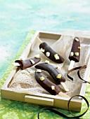 Chocolate ice cream bananas