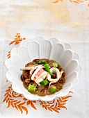 Squid stew with red beans and okras