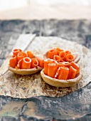 Rolled carrot tartlets