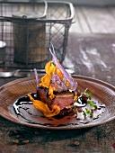 Duck with coffee, sweet potato and purple potatoes
