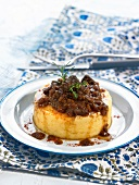 Polenta with wild boar stew