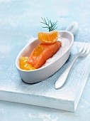 Salmon with mandarin puree and coconut puree