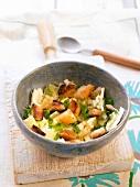 Mozzarella, lemon and herb salad with croutons