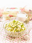Diced cucumber salas with cashew milk dressing