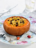 Corean pumpkin stuffed with basmati rice and black olives