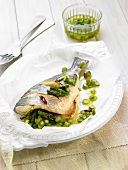 Roasted sea bream with green asparagus and guindilla pepper