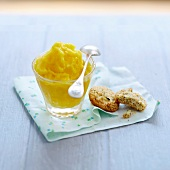 Saffron-flavored peach cream dessert with poppyseed cookies