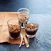 Milk chocolate cream dessert with crushed peanuts