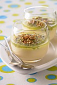 Passion fruit panna cotta with kiwi puree