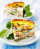 Slices of salmon-spinach quiche