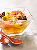 Citrus fruit salad in spicy infusion