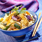 Chinese noodles with chicken and curried vegetables