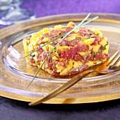 Tuna, mango and grain mustard tartare