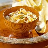 Noodles with creamy chicken, saffron, raisins, cashews and pistachios
