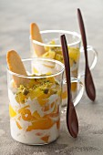 Peach-pistachio trifle with Langue-de-chat biscuits