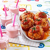 Tomatoes stuffed with rice,strawberry smoothies