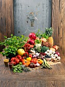 Composition with vegetables,herbs grains and fruit