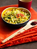 Thinly sliced sauteed vegetables