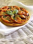 Tomato and basil savoury tatin tart
