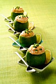 Limes stuffed with haddock paté