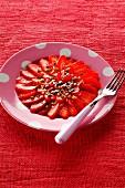 Rose-flavored strawberry carpaccio
