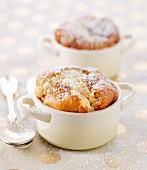 Small casserole dishes of vanilla soufflé